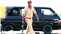 Ajay Devgn shoots for one of the many action sequences in Singham Returns