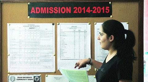 A student at  Miranda Collage in North Campus on Wednesday. ( Express photo by:  Amit Mehra )