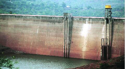 Water level has dropped to below the zero mark at Varasgao dam. ( Express photo by Sandeep Daundkar )