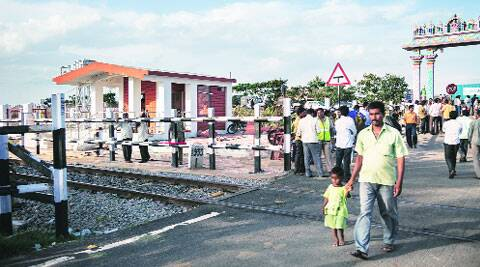 The killer crossing on Friday. The gateman's room is on the left.  ( Source: Express photo by Harsha Vadalmani )