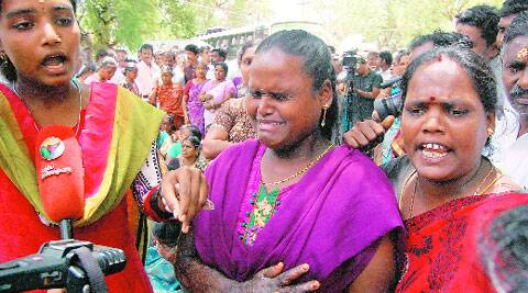 Victims along with family members of Kumbakonam school fire tragedy react to the judgment at the premises of Tanjavur district court on Wednesday. ( Source: PTI )