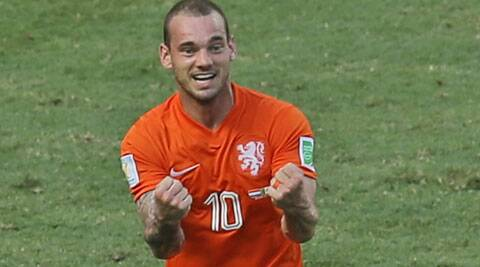 Sneijder scored in the 87th minute for Nehterlands against Mexico to set up a 2-1 win for his team. (Source: AP)