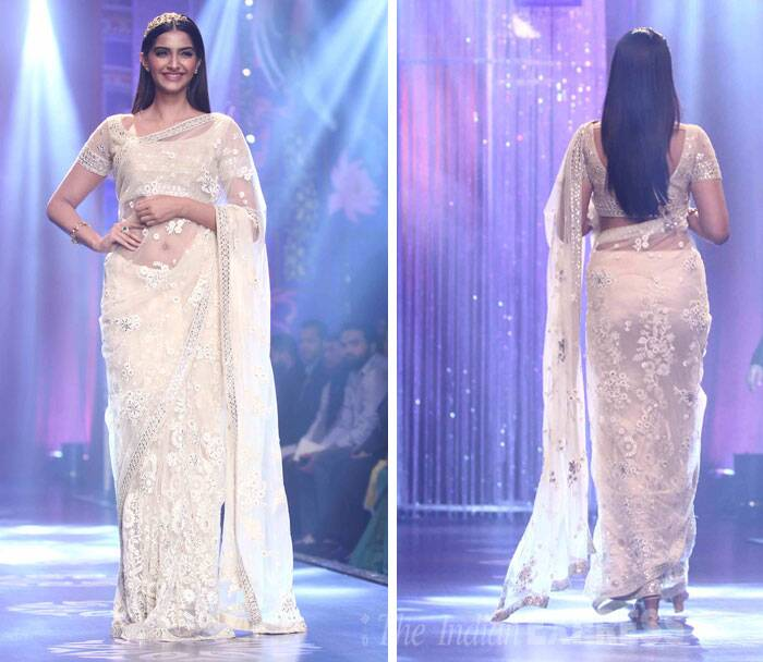 The 'Khoobsurat' actress looked stunning in a white sari by designer Neeta Lulla. (Source: Varinder Chawla)