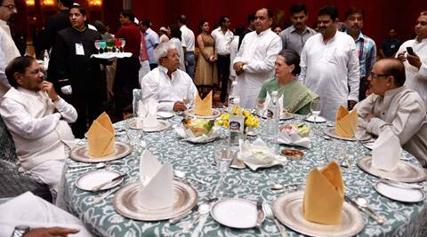 (L-R) JD(U) chief Sharad Yadav, RJD chief Lalu Prasad, Sonia Gandhi and NCP leader Tariq Anwar in New Delhi on Sunday.