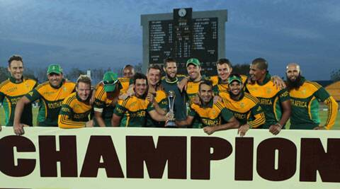 South African team with the winners trophy after their first ever series win in Sri Lanka. (Source: AP)