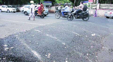 The speedbreaker outside MIDC office where Anjana Sawant met with an accident. Another woman sustained head injuries in an accident on the same spot. (Source: Express photo)