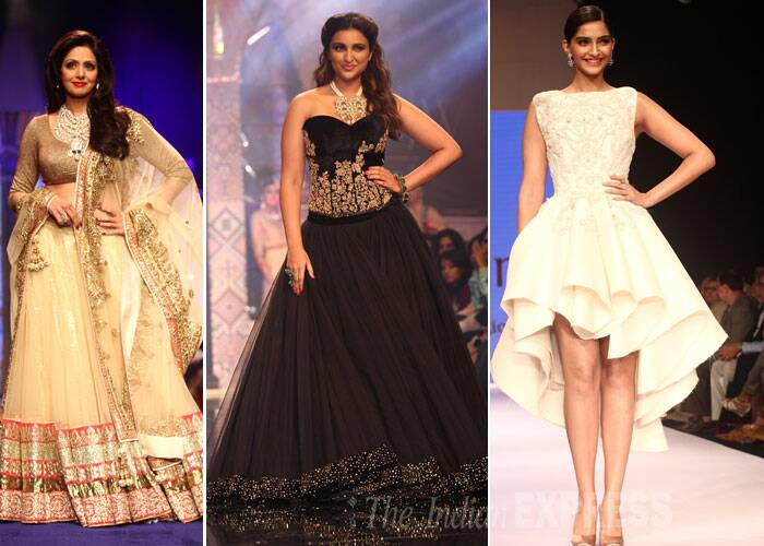 Bollywood actresses Sonam Kapoor, Sridevi and Parineeti Chopra took to the ramp on Day 3 of the ongoing India International Jewellery Week (IIJW) 2014 as they showcased beautiful creations by designer jewellers. (Source: Varinder Chawla)