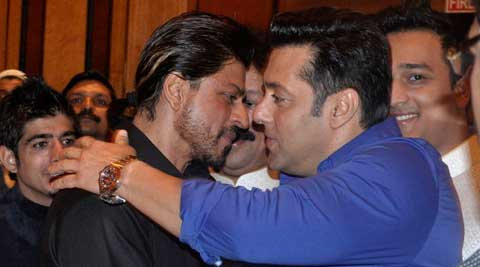 The two leading Khans of Bollywood - Shah Rukh and Salman - hugged each other with warmth as they came face to face at an iftaar party. (Source: Varinder Chawla)