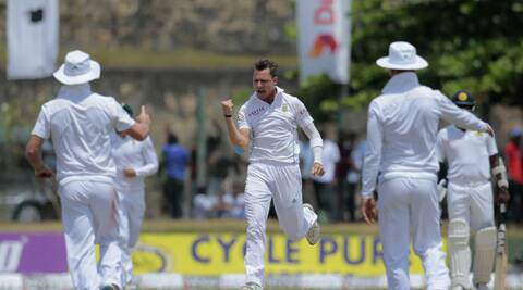 Dale Steyn exults after taking another Srilankan wicket at Galle. (Source: AP)