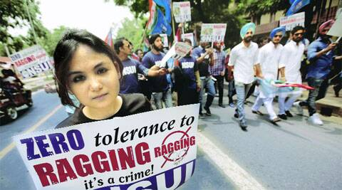 An anti-ragging march taken out by NSUI on the campus