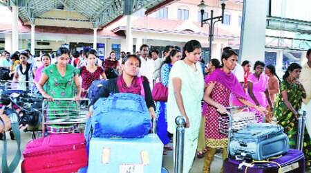 Nurses who were stranded in Iraq arrive at Kochi International Airport on Saturday. (Source:  PTI)