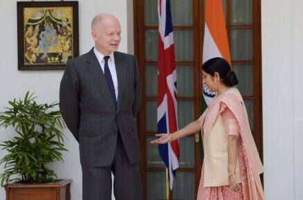 Today in pics: Sushma Swaraj meets British Foreign Secretary William Hague
