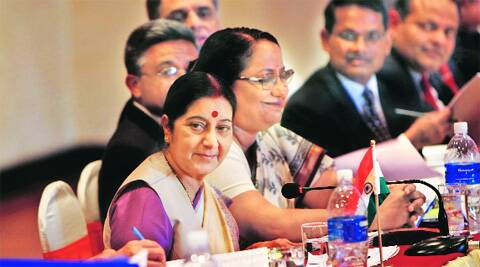 Sushma Swaraj attends the meeting of the Nepal-India Joint Commission in Kathmandu on Saturday. Source: AP
