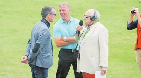 Graeme Swann (L) with Henry Bloefeld (R) and Alec Stewart at Trent Bridge on Friday. (Source: IE Photo)