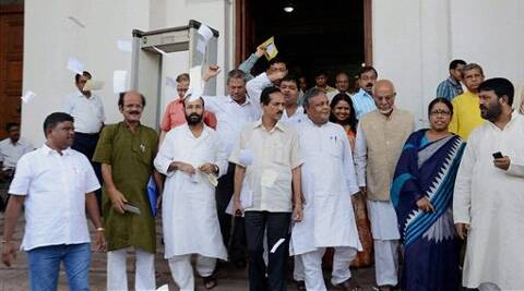 Opposition Congress, Forward Bloc, CPI-M and CPI MLAs boycott the Budget session of West Bengal Assembly in protest against alleged deteriorating law & order situation in the State, in Kolkata on Tuesday. They were also protesting against TMC MP Tapas Paul on his remarks against women. Source: PTI Photo