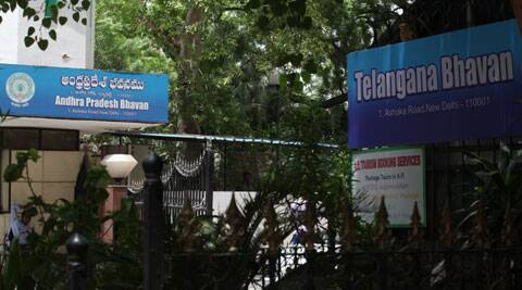 Andhra Pradesh Bhavan and Telangana Bhavan sharing this 1 Ashka road  property thats why both put their  boards in the entres  gate. (Source: Express photo by Renukaq Puri)