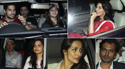 Sidharth, Alia, Malaika watch Salman, Jacqueline's 'Kick' along with the Khan-daan