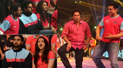 PICS: Aamir, Shah Rukh, Big B, Aishwarya cheer for Abhishek's kabaddi team