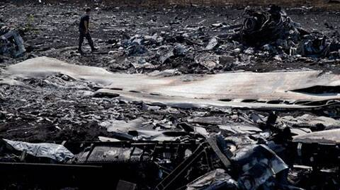A man walks amongst charred debris at the crash site of Malaysia Airlines Flight 17 near the village of Hrabove, eastern Ukraine. (Source: AP)