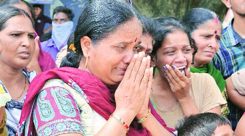 Mahadevnagar residents react after the incident. (Source: Express photo by Bhupendra Rana)