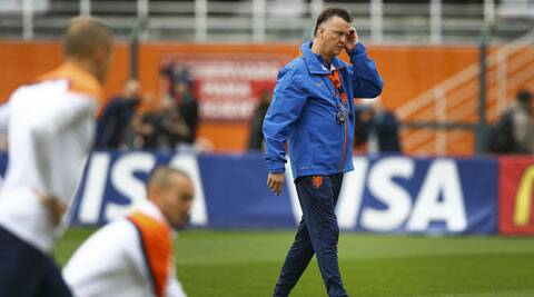 Netherland's  Louis van Gaal during a practice session ahead of the semis clash against Argentina (Source: Reuters)