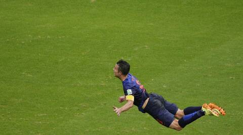 The offer is apparently inspired by Robin van Persie (in pic) 'taking flight' to score his spectacular headed goal in the 5-1 thrashing of Spain. (Source: AP)