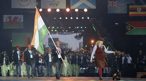 Vijay Kumar leads the Indian contingent during the opening ceremony of the 2014 Commonwealth Games in Glasgow (Source: AP)