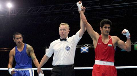 Vijender was fast in his movement in his first bout of the Games and played to a plan, emerging victorious without taking much risk. (Source: PTI)