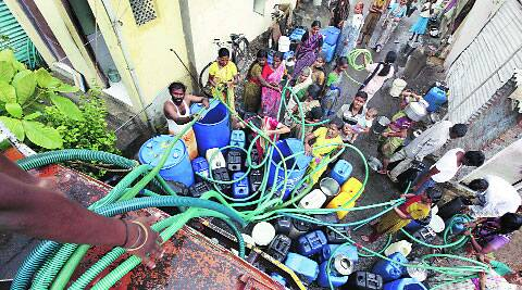 Water tankers supply water in the city when there is acute shortage.