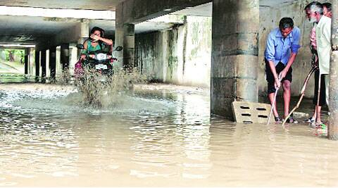 water woes: At the underpass in Sector 15, Chandigarh, on Friday. Sumit Malhotra