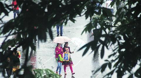 In Shimla Tuesday, when the monsoon reached Himachal. Lalit Kumar