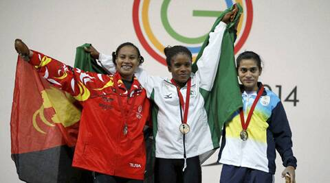 India's Santoshi Matsa seen with Nigeria's   and Papua New Guinea's  on the podium (Source: AP)