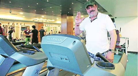 Yograj Singh at a Sector 9 gym on Saturday. ( Express photo by Kamleshwar Singh )