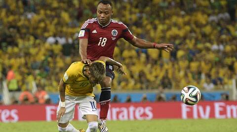 Zuniga's tackle on Neymar resulted in a fractured vertebra, which caused the Brazil striker to be sidelined from the World Cup. (Source: AP)