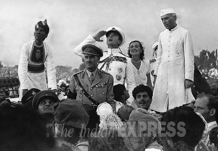 This rare 1947 photograph provided by the Ministry of Defence shows Lord Mountbatten, Edwina Mountbatten and Jawaharlal Nehru at the first Independence Day celebrations in New Delhi. A report in Fauji Akhbar said Mountbatten and Nehru rescued children lost in the crowds by making them board the state coach. (Express archive photo)