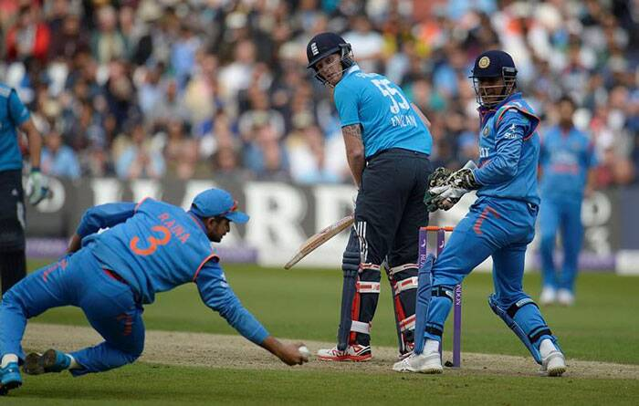 Suresh Raina  erased the memories of some horrible slip fielding during the Test series when he took a fantastic reflex catch to dismiss Stokes off Ashwin's bowling. (Source: Reuters)