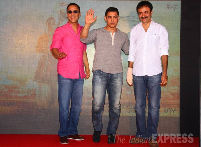 Aamir Khan was joined by 'PK' director Rajkumar Hirani and producer Vidhu Vinod Chopra. The trio has also worked together for Bollywood blockbuster '3 Idiots'.  (Source: Express Photo by Amit Chakravarty)