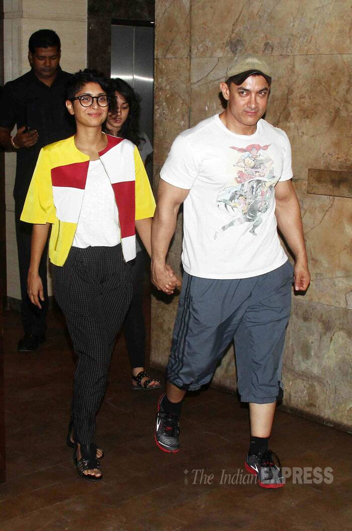 Bollywood superstar Aamir Khan along with his wife Kiran Rao and daughter Ira (from his first wife Reena) were seen at the special screening of the recently released 'Mardaani' featuring Rani Mukerji. Rani held a special screening for her close friend and co-star Aamir Khan this weekend. (Source: Varinder Chawla)