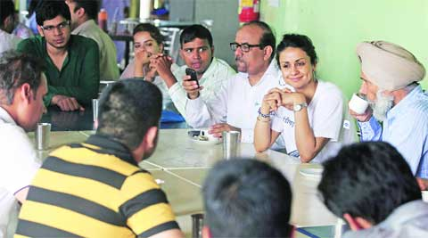 AAP leader Gul Panag interact with student leaders at Panjab University  on Saturday.