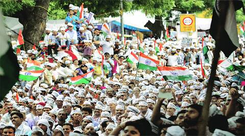 The AAP rally led by, Arvind Kejriwal and Manish Sisodia (below), saw a massive a crowd on Sunday. (Source: Express photo by Ravi Kanojia)