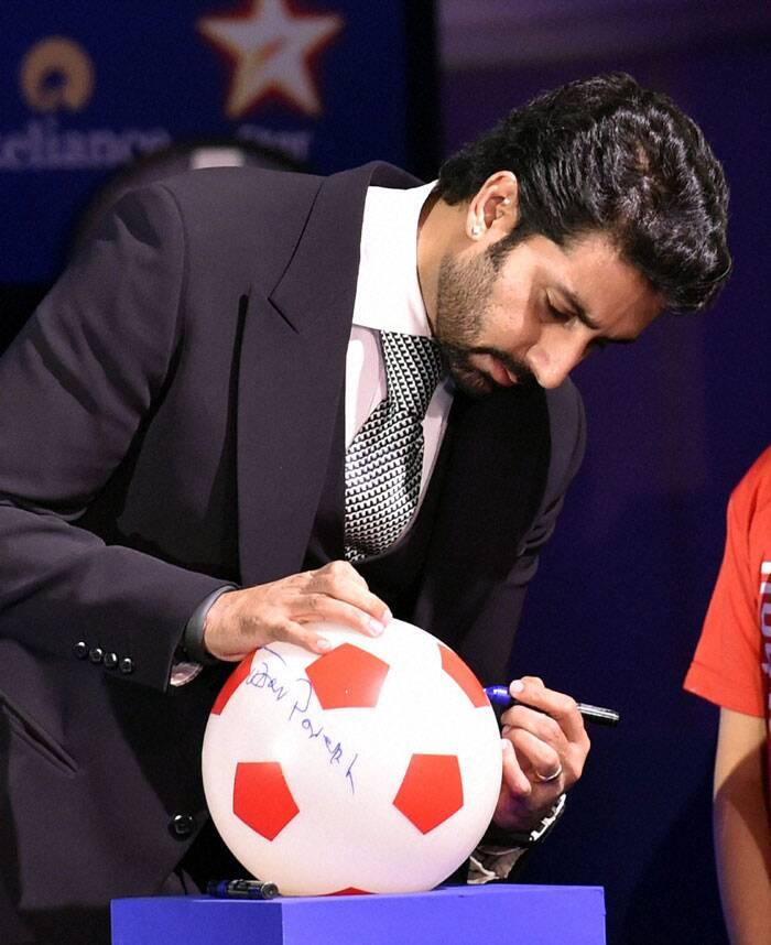 Abhishek Bachchan, who was confirmed as the owner of the Chennai unit at the last moment, also graced the occasion. Bachchan's team has a technical tie-up with Italian giants Inter Milan and are in talks with former Italy defender Marco Materazzi for the manager's role. (Source: PTI)