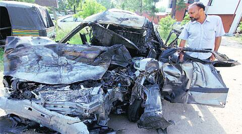 The remains of the car at the Sec-34 police station in Chandigarh. (Photos: Jasbir Malhi)