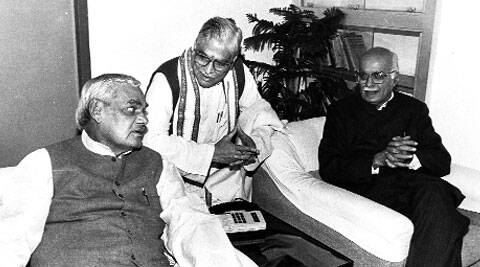 Vajpayee, Joshi and Advani at the BJP executive on February 23, 1996. (Source: Express archive)