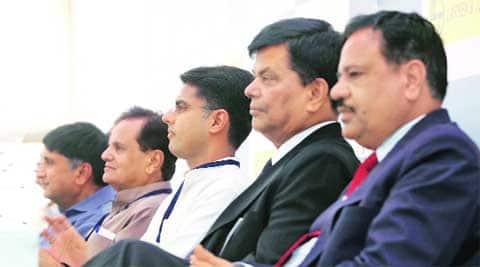 (From left) Torrent group chairman Sudhir Mehta, Sonia Gandhi's political secretary Ahmed Patel, Sachin Pilot, Birla group's Ganguly and L&T's Kuldip Goel. (Source: IE photo by Bhupendra Rana)