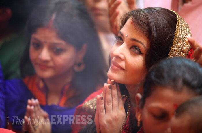 Aishwarya looked pretty in a traditional-festive avatar. She opted for a salwar suit with bindi. (Source: Express photo by Prashant Nadkar)