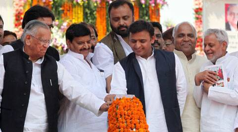 Uttar Pradesh Chief Minister Akhilesh Yadav during the inauguration of Janeshwar Mishra Park.
