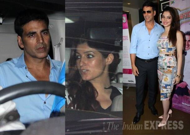 Akshay watches 'Entertainment' with wife Twinkle; Tamannaah joins him for promotions