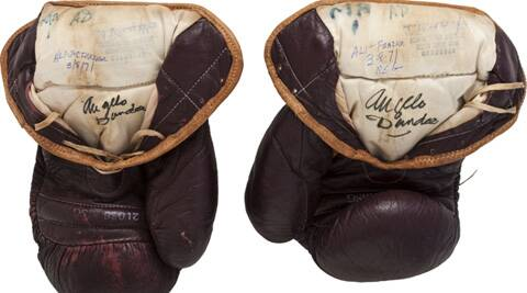 The gloves Ali's used in the famous 1970 fight against Joe Fraizer. (Source: Reuters)