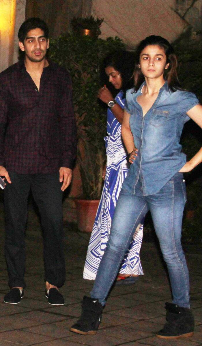 '2 States' actress Ali Bhatt was seen coming out of Ranbir Kapoor's home on Saturday (August 16) night along with director Ayan Mukherjee. Alia has confessed to have a crush on Ranbir Kapoor. (Source: Varinder Chawla)