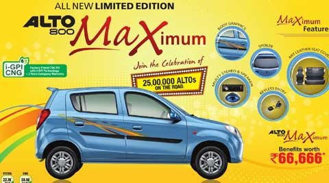 Alto Maximum will carry benefits of up to Rs 66,666 in form of accessories and goodies.